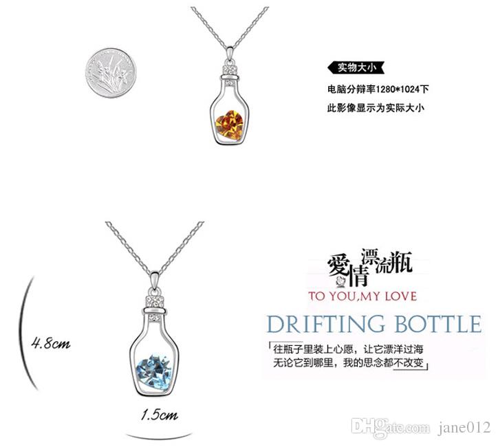 Desejando Garrafa de Jóias Pingente de Coração Colares de Moda Cristal Brilho de Pedra Sautoir para meninas Venda Barato 8 cores