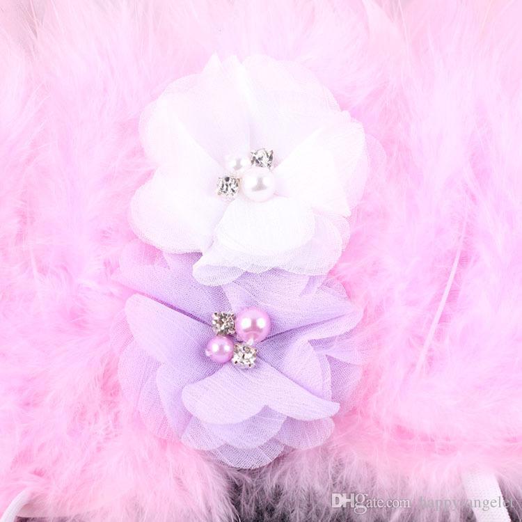 Bebek Melek Kanat + Şifon çiçek bandı Fotoğraf Sahne Set yenidoğan Pretty Melek Peri Pembe tüyler Kanat Kostüm Fotoğraf Prop YM6101