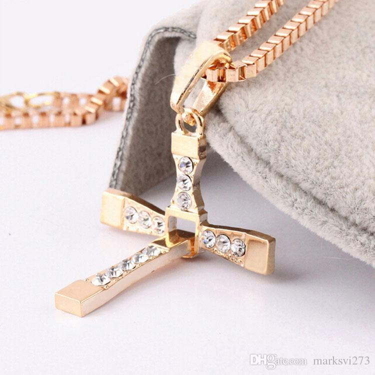 Alloy Diamond FAST and FURIOUS Dominic Toretto Cross Pendant Necklace With 60CM Chain Men's Crystal High Quality Gold Silver-Plated Necklace