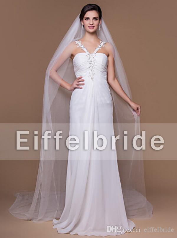 Wykonane na zamówienie proste białe welony ślubne 2016 Najnowszy Eifflebride z miękkim tilum około 3 metrów długie welony ślubne