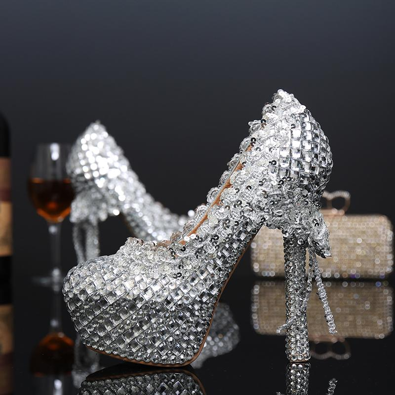 Fashion Silver Woman Platform Shoes Crystal High Heels Shoes Beautiful Rhinestone Round Toe Lady's Party Proms Plus Size 34 - 43