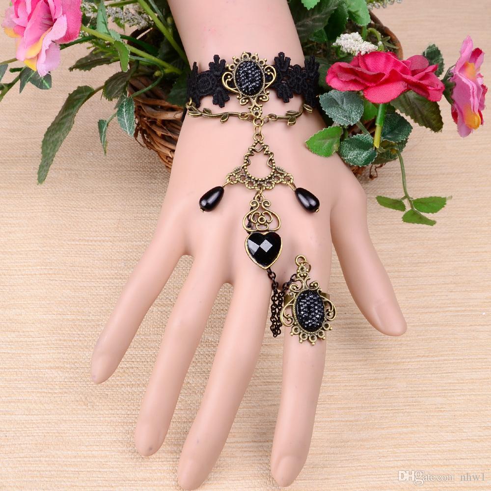 خمر حفل زفاف wriststrap الأسود الرباط أساور حلقة أساور النساء السيدات القوطية اليدوية والمجوهرات الملحقات