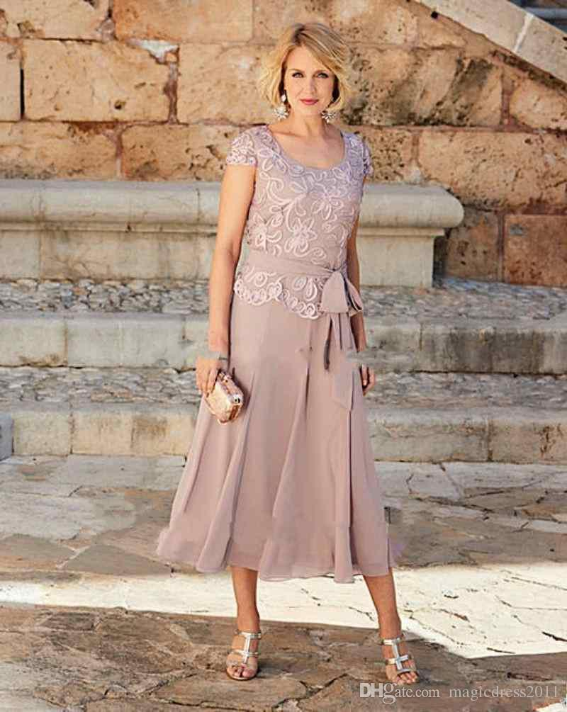 2019 una línea madre de los vestidos de novia longitud del té escote redondo vestido de fiesta de encaje para las madres novio formal desgaste