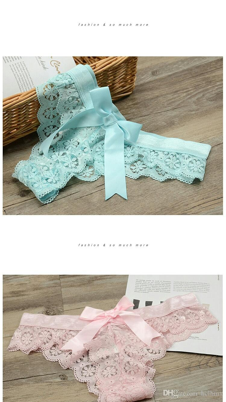 2017 New Sexy Lace Big BowThong Light Blue Yellow Pink White Black Panties Underwear Lacey Sweet Knicker Undies Thong
