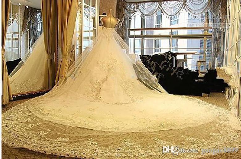 2019 Скромное сверкающее Кристаллическое кружево Свадебные платья Роскошный собор Поезд Свадебные платья Real Image плюс свадебное платье размера Pnina Tornai