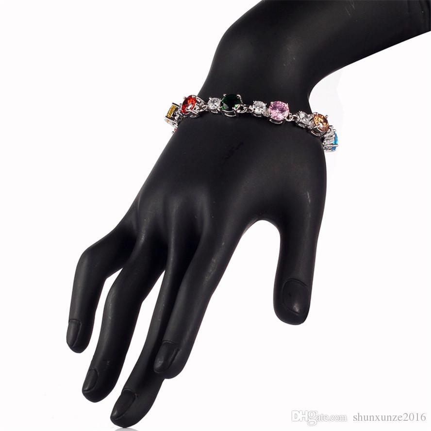 펑크 귀족 관대 MN669 Morganite 옐로우 페리도트 자수정 블루 핑크 레드 큐빅 지르코니아 아름다운 구리 로듐 도금 패션 팔찌