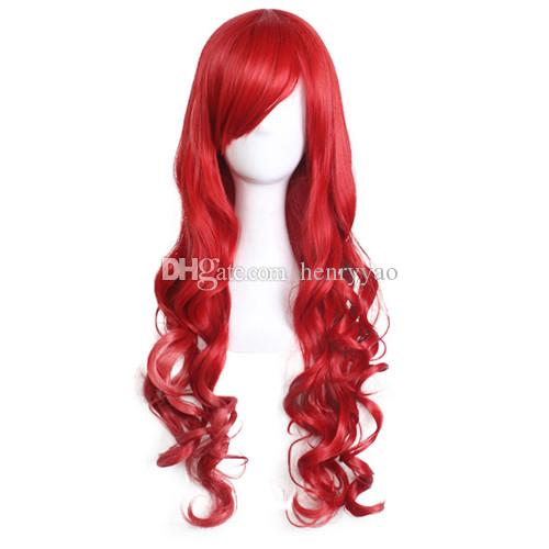 Long Cheap Cospaly Wig Harajuku Lolita Wig Red Body Wave Synthetic Hair Mix Color Wigs for Women Synthetic Wig