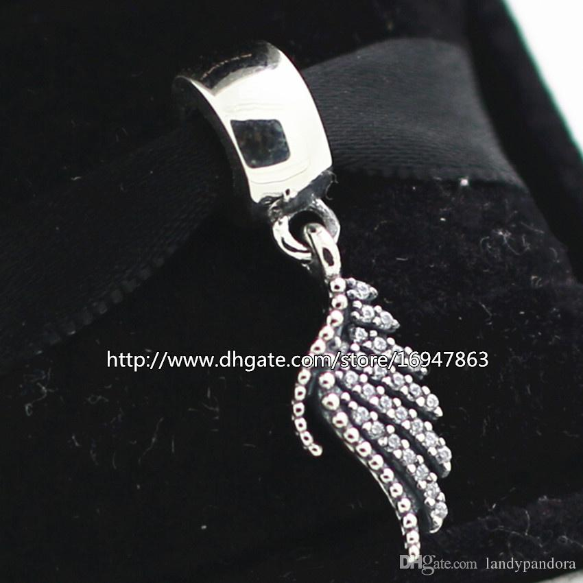 100% S925 Sterling Silver Majestic Feather Dangle Charm Bead with Clear Cz Fits European Pandora Jewelry Bracelets Necklaces & Pendant