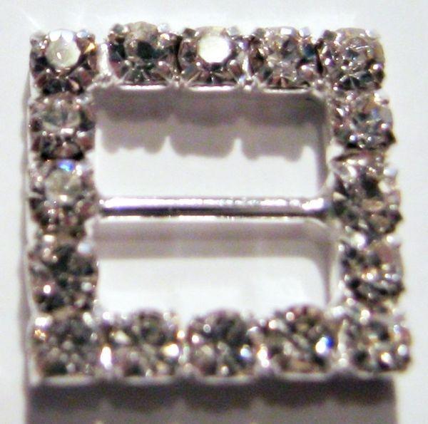 Sıcak satış ! 100 adet Gümüş Sınıf A Taklidi Kare Düğün Şerit Kaymak Metal Tokaları 6mm Bar