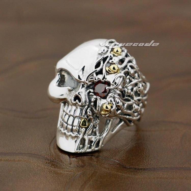 925 Sterling Silver Red CZ Stone Eye Skull Mens Riker Ring 8V006 US 8 do 14 Darmowa Wysyłka