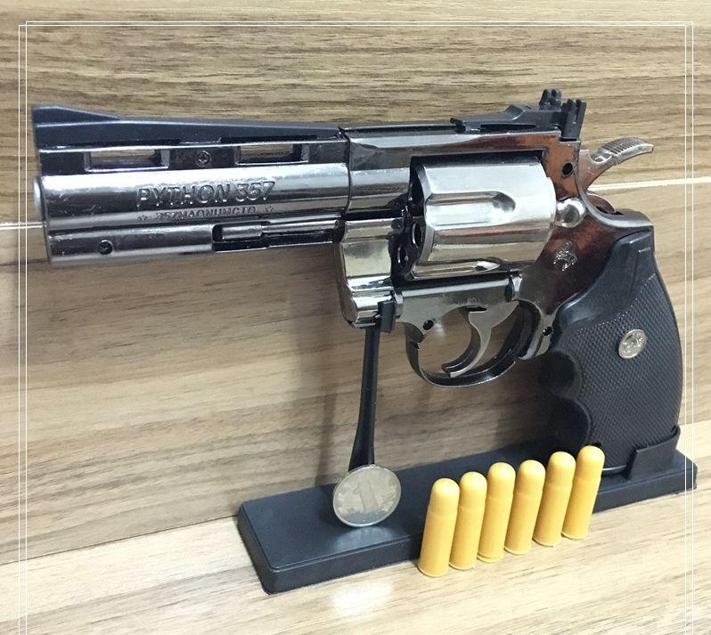 Python Revolver Lighter Metal Revolver Type Gun Inflatable Windproof Lighter Furniture Ornaments Personalized Ornaments 357 Gun Lighte