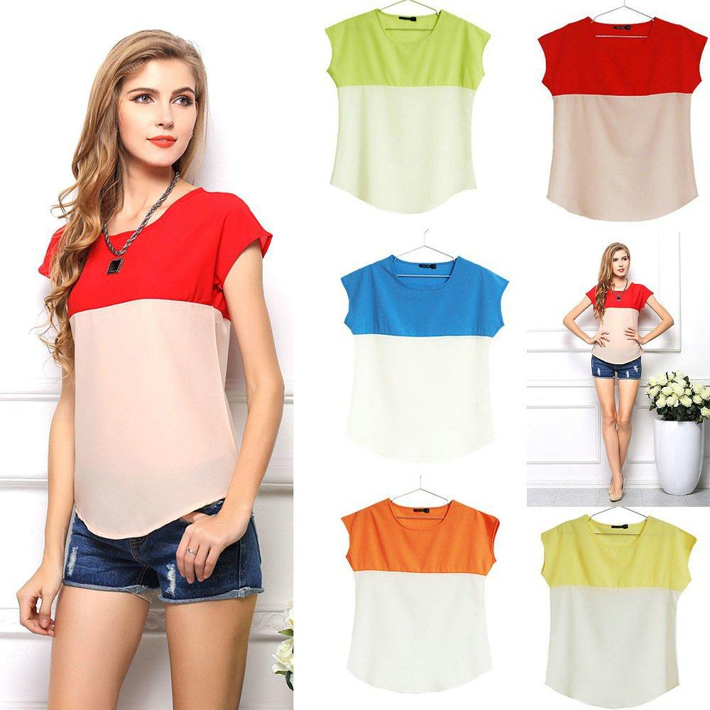 Best Quality Double Color Mosaic Bottoming Chiffon Blouse Women ...