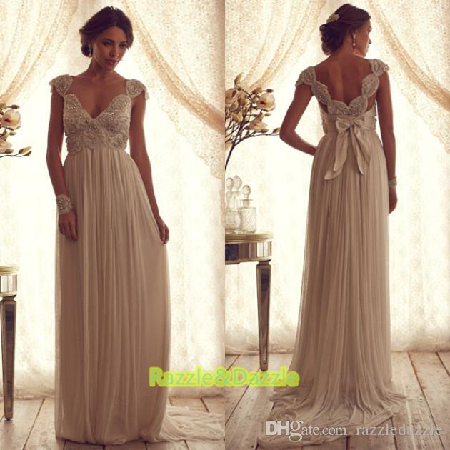 Discount 2015 Grecian Capped Sleeves Wedding Dresses