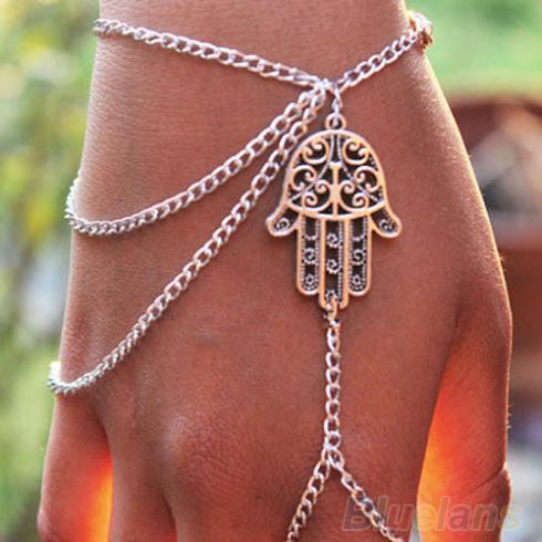 2016 New Asymmetric Mens fashion Women Hamsa Fatima Finger Ring Slave Chain Hand Harness 01PA