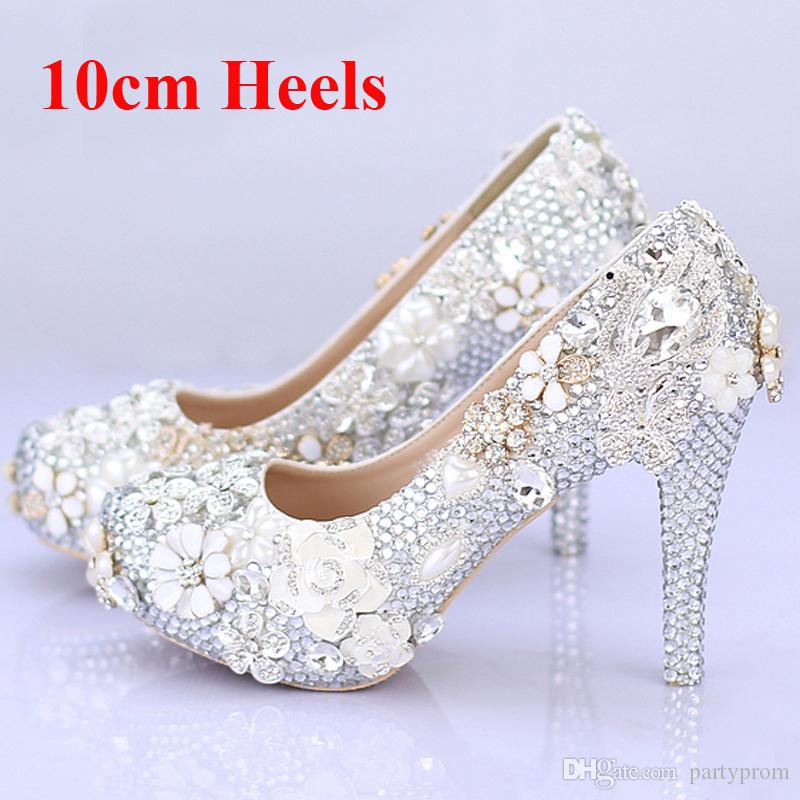 Gorgeous Wedding Shoes Round Toe Silver Rhinestone zapatos de vestir nupciales hechos a mano Jeweled Crystal Party Prom Amazing Pumps