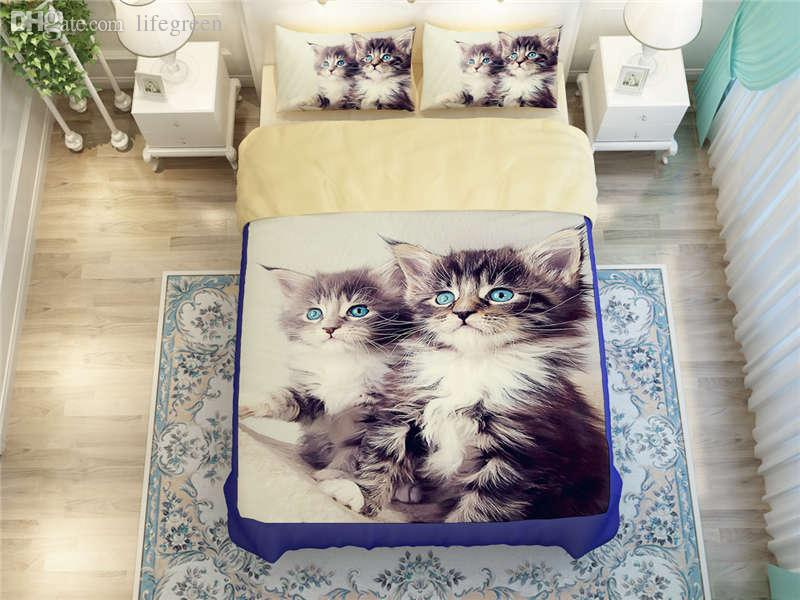 Wholesale Maine Coon Cat Bedding Set For Boys Childrens Home Decor Full Queen Size Bed Linens Comforter Duvet Covers 4 Bedclothes Blue Sets