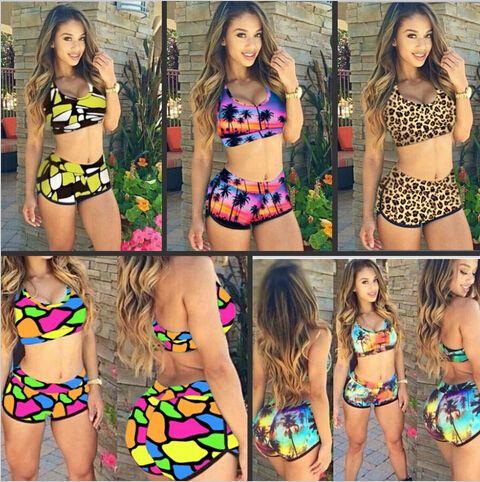 d87c02b47e Romantic Sunset Print Sporty Bathing Suit Bikini Swimsuit 4289 sexy women  summer style cheap swimwear maillot de bain