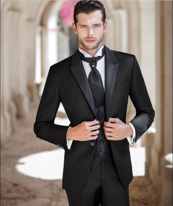 Custom Made 2016 Groom Tuxedos Peak Satin Lapel Men\'S Suit Black ...