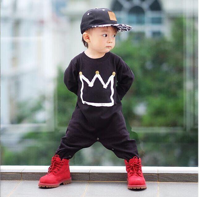 Lente baby kroon uit één stuk rompertjes baby jongens lange mouwen katoen jumpsuits kinderen zwarte romper bodysuits kinderen klim kleding 901