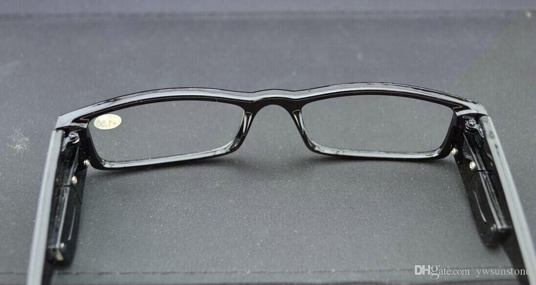 New Fun LED Light Up Frame Óculos de Leitura Preto Articulado Leitor De Óculos 20 pçs / lote frete grátis