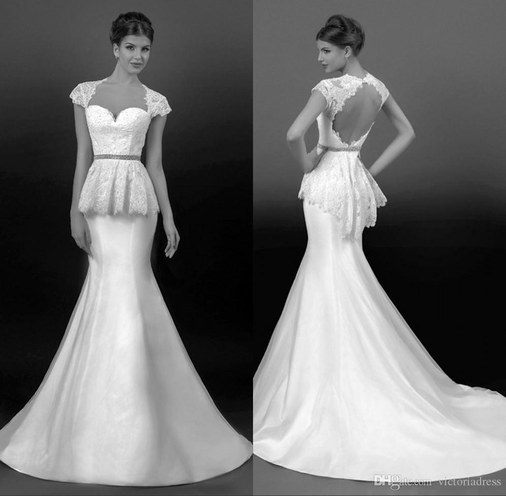 Low Waist Wedding Gowns: Vintage Wedding Dresses 2014 Sweetheart Short Sleeves Low