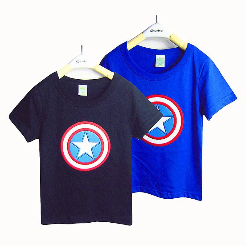 Baby boys Captain America T-shirts 2015 new children cartoon Super hero Short sleeve T-shirts B001