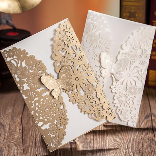 Wedding Invitations Laser Cut Butterfly Flower Invitations Cards – Wedding Butterfly Invitations