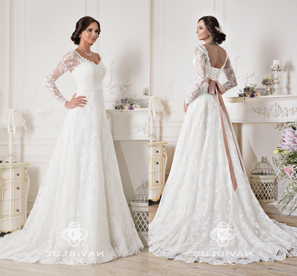 Discount 2015 White Elegant A Line Lace Wedding Dresses Naviblue Scoop Long Sleeve Up Applique Ribbon Sweep Train Bridal Gowns For Women All: Lacey Elegant Wedding Dresses At Reisefeber.org
