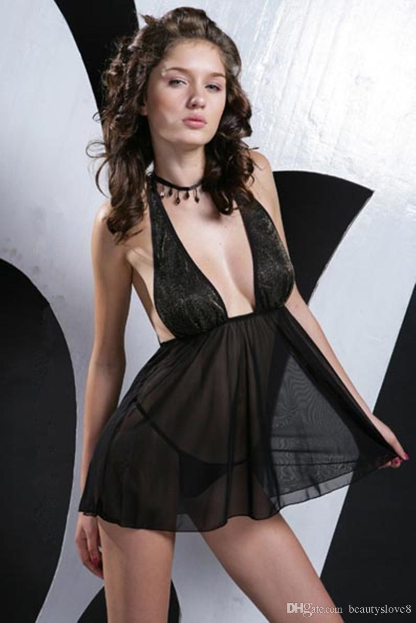 Plus Size Sexy Black Sheer Babydoll With Highlights Gold Thread ...