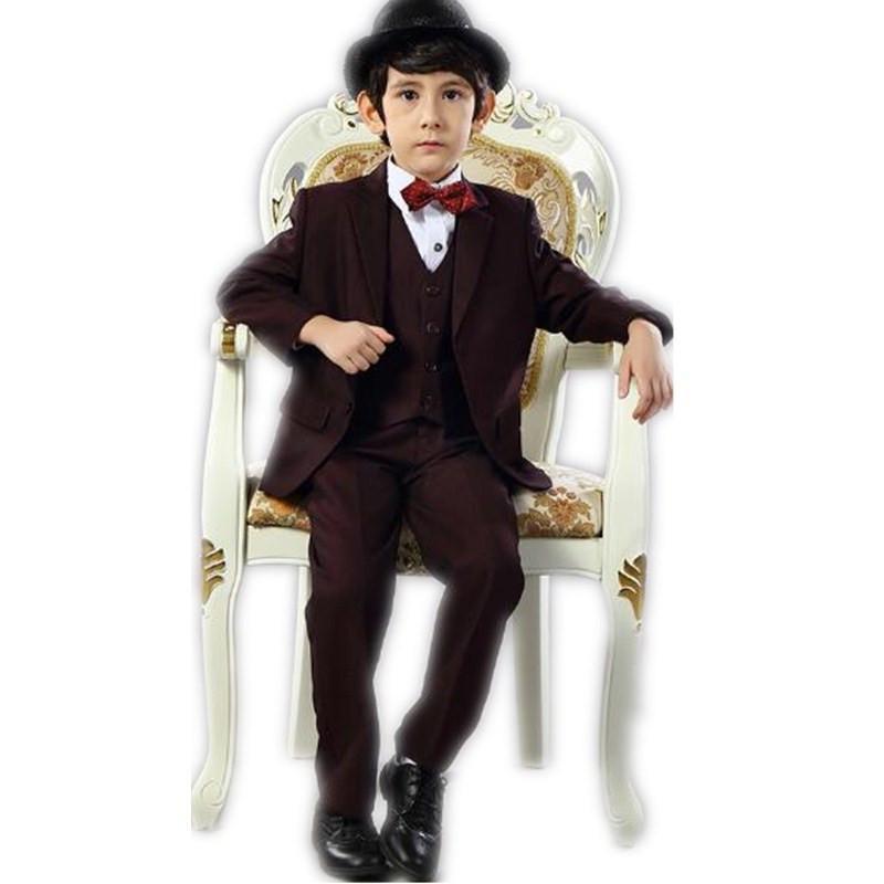 Новейшие костюмы мальчика красное вино вечернее платье мальчика торжественная одежда для детей на свадьбу, костюм из трех частей куртка + брюки + жилет