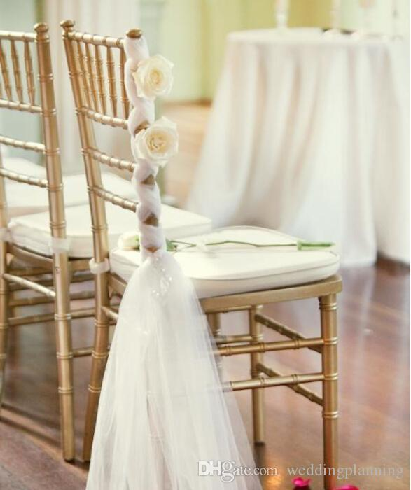Beautiful White Chair Sashes Sample For Wedding Decorations Handmade Flowers Chair Ribbon Anniversary Chiffon Chic Party Banquet Accessory