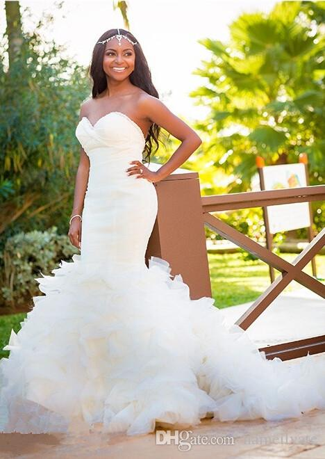 2017 Vestidos De Noiva Hot Organza Mermaid Beach Wedding Dresses Backless Sweetheart Pearls Bridal Gowns Plus Size Dress for Bride