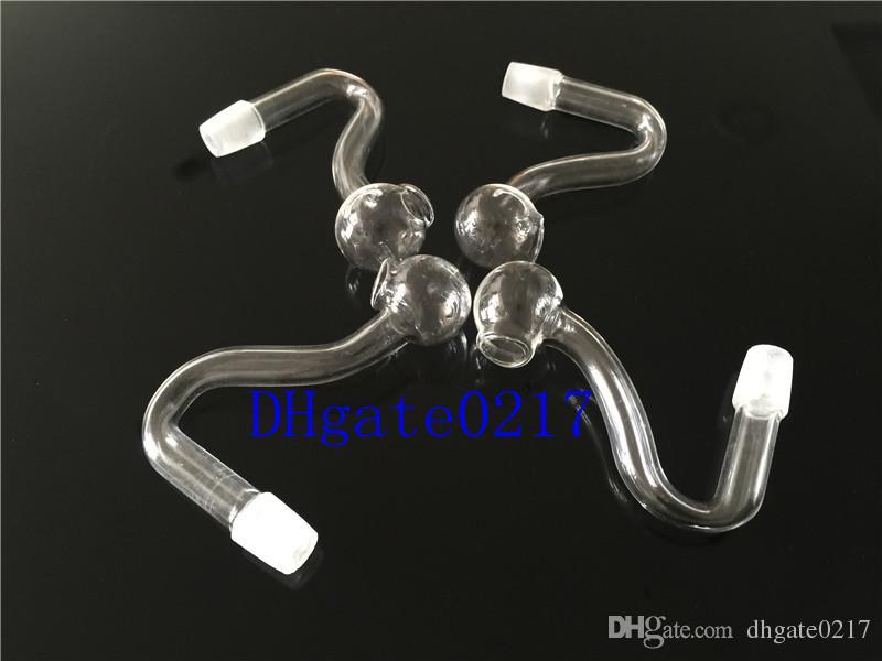 미니 S 모양 유리 오일 버너 파이프 투명 유리 오일 버너 10mm 공동 유리 튜브 유리 파이프 오일 손톱