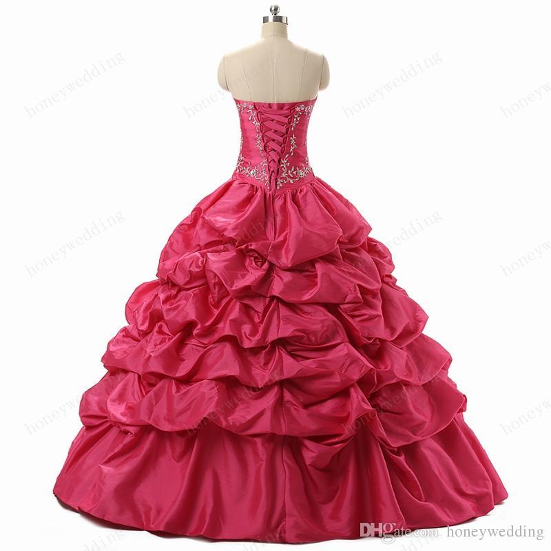 Prachtig hete roze / blauwe zoete 16 meisjes Masquerade Prom baljurk met borduurwerk Sequin Beaded Ruches Goedkope Quinceanera Jurken