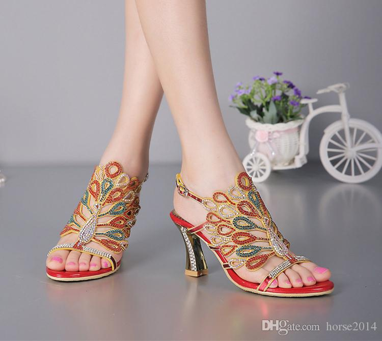 Women Banquet Prom Party Shoes Summer Rhinestone Sandals Open Toe Chunky Heel Strappy Wedding Shoes for Bride Red Black Color