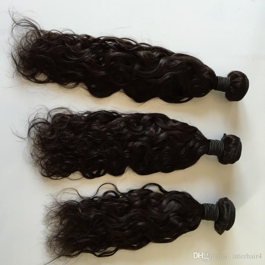 8A Water wave Brazilian Hair Bundles with Lace Closure Malaysian Peruvian Indian Remy Virgin Human Hair Weaves Dyeable