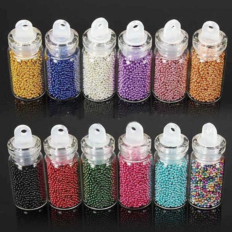 Mode 12pcs / lot couleur costume de couleur unie caviar Perles Nail Art Conseils Acrylique Glitter DIY Décoration Nail Outils Livraison Gratuite DHL 60021