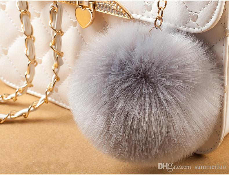 Rabbit Fur Ball Keychain Soft Fur Ball Lovely Gold Metal phone Key Chains Ball Pom Plush Car Keyring Bag Earrings Accessory