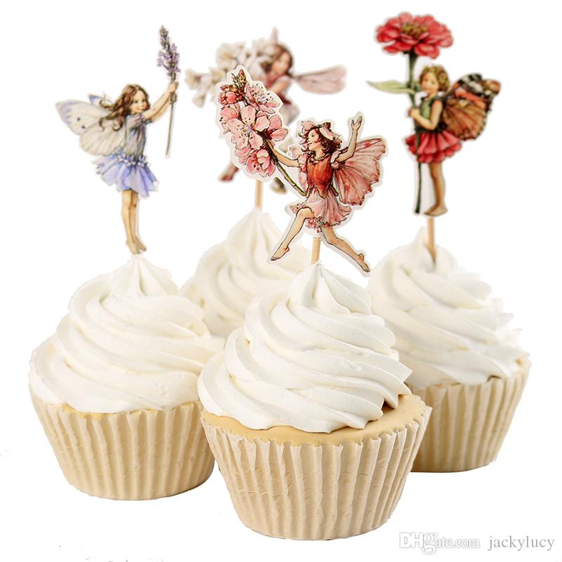 Flower Fairy Flowers and Little Girl Cake Decorating Tools Fruits Cupcake Inserted Card Stands Baking Supplies for Kids