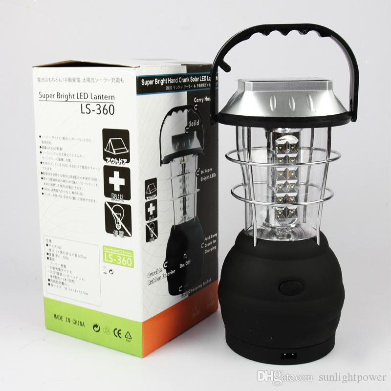 Manivela Dynamo Solar 36 LED Super Brilhante Lanterna de Acampamento Ao Ar Livre Luz de Trabalho nova marca frete grátis