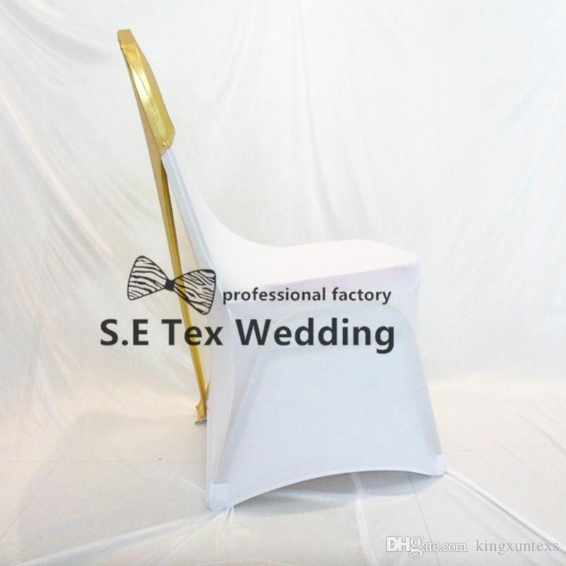 Color dorado bronceado recubierto Lycra Spandex silla cap capucha para banquete silla de la boda cubierta envío gratis