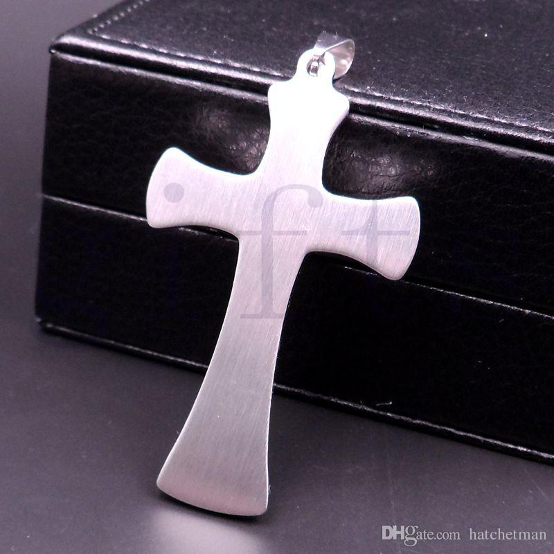 croce pendente in argento freddo dell'acciaio inossidabile degli uomini con la scatola di 30inch nave collana libera
