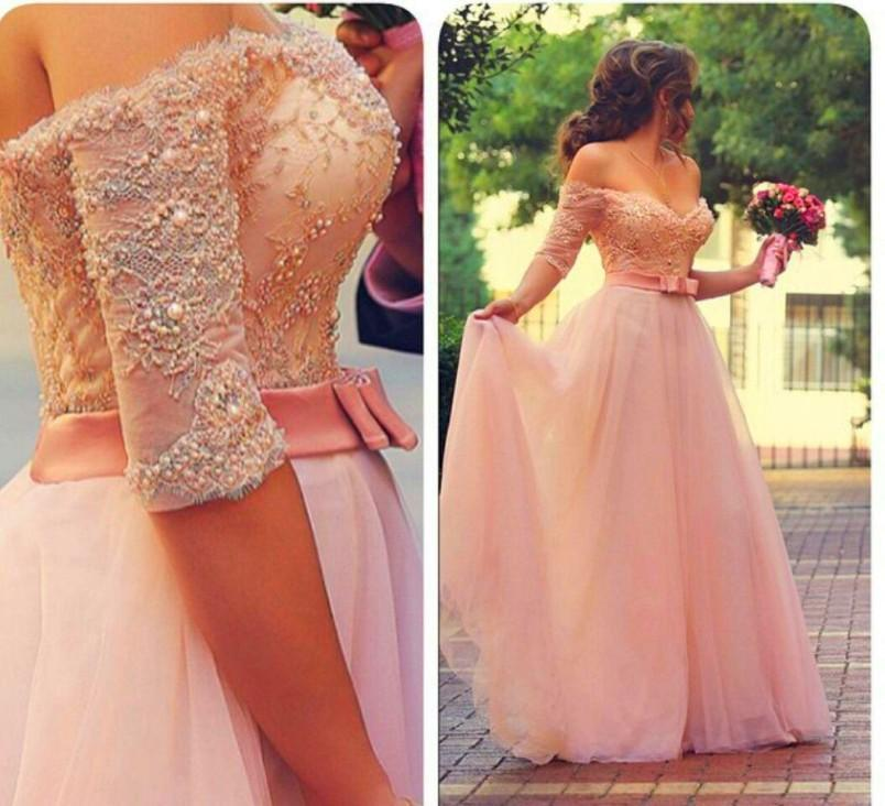 Sexy Prom Dresse Blackless Stunning A Line Pink 2015 Sexy Off the Shoulder Lace Paerl Beaded Half Long Sleeve Evening Dress Formal Party