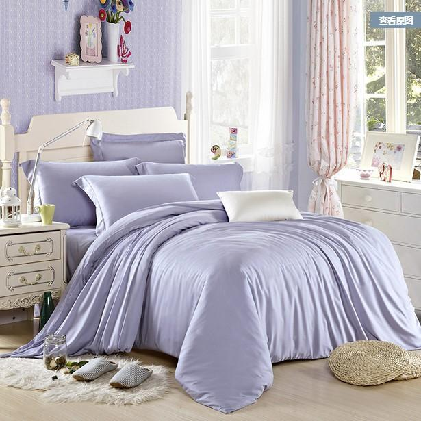 Luxury Light Blue Bedding Set Queen King Size Tencel Duvet Cover
