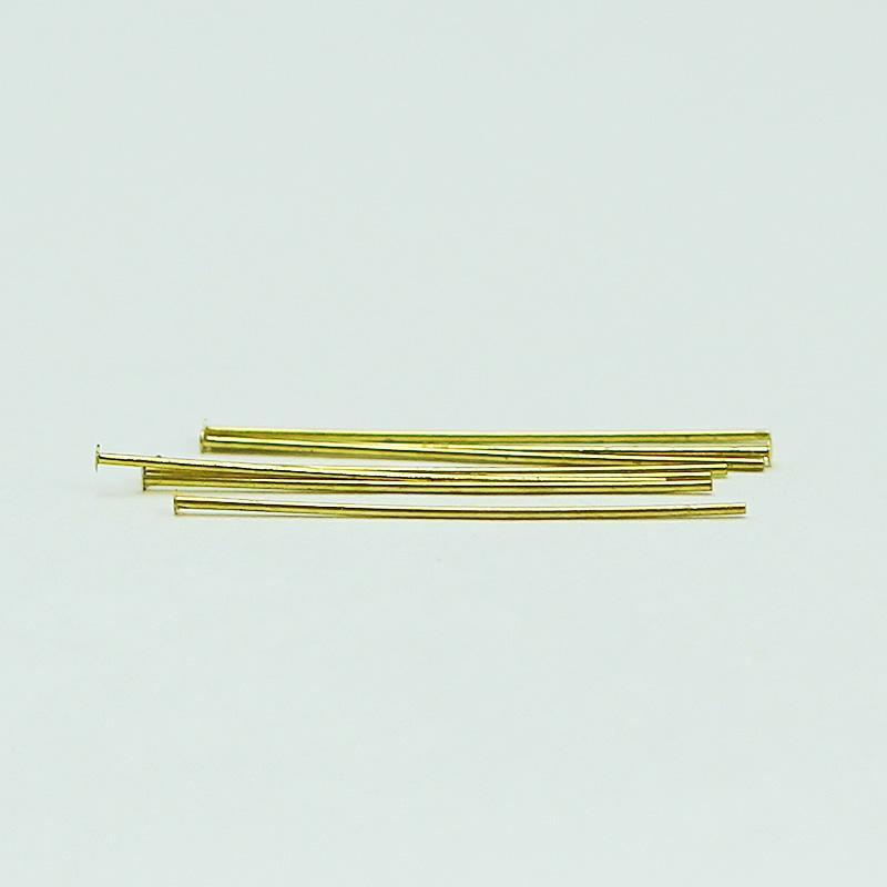 Beadsnice altın kaplama pirinç kafa pin takı yapımı için düz kafa düz iğneler mücevherat bulguları toptan KIM 12927