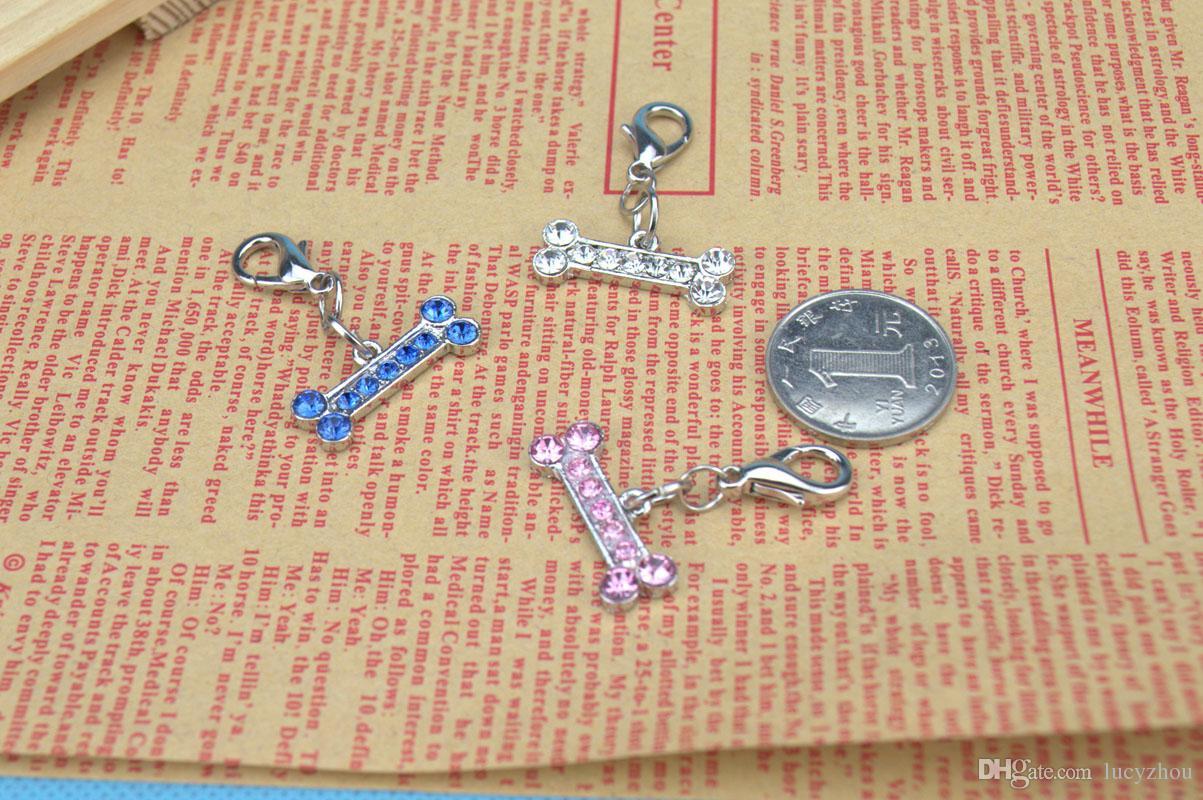 Bone Shape Pet Safety Tag ID With Czech Diamond Luxury Hotsale Fit Pet Collar&Necklace Cheap Key Charms Wholesale