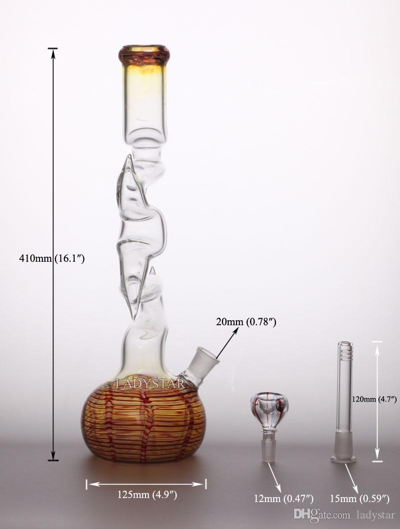 2015 New Heady Glass Bong Glass Oil Rigs peculiar big 18.8mm Water Pipes Bongs Hookah Shisha Recycler Glass Smoking Pipes L120A