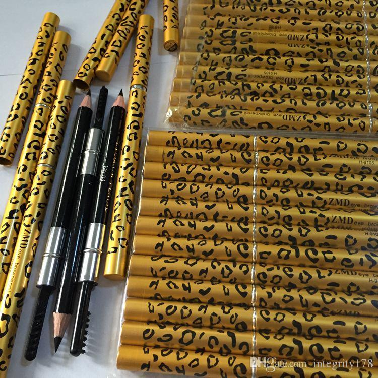 100 pçs / lote Lápis Com Escova 2 em 1 Sobrancelha Design Leopardo Caixa De Metal Dois Lados Lápis de Sobrancelha