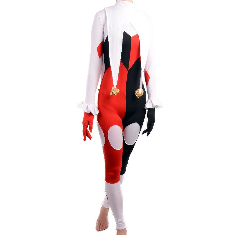 81a72215cd24c 2019 Harley Quinn Costume Women Adult Sexy Tight Jumpsuits Spandex Full Bodysuit  Catsuit Joker Clown Cosplay Halloween Costumes From Meiyin2014, ...