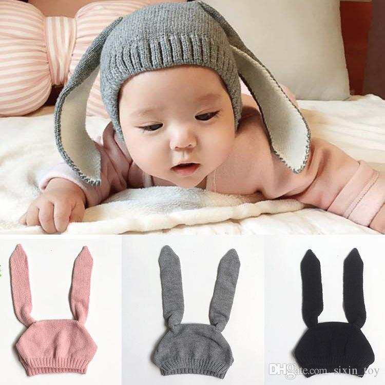 15044311111 2019 Hot Sale Winter Warm Baby Rabbit Ears Knitted Hat Infant Bunny Caps  For Children 0 2T Girl Boy Beanie Hats Photography Props From Sixin toy